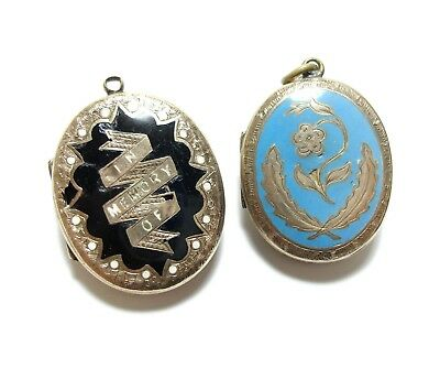 Pair Of Beautiful Old Antique Victorian Enamel Chunky Lockets Pendants Af (A16)