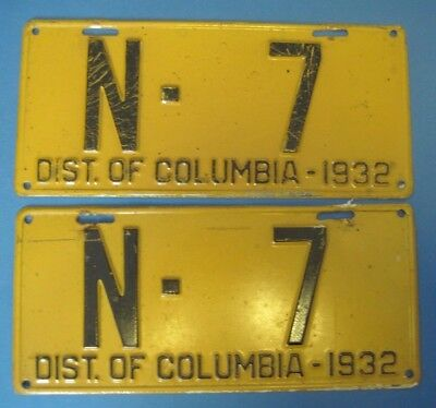 1932 DC license plates matched pair District of Columbia license plates low N-7