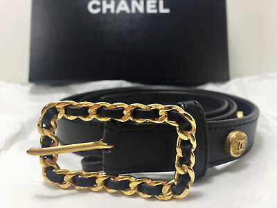 100% Authentic Vintage CHANEL Leather Belt with Charms - Free Shipping