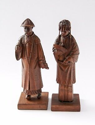 Delightfully Carved Two Chinese Minature Figurines in Wood - Male and Female