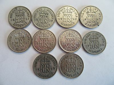Lot of 10 Great Britain Silver 6 Pence, 1937-1946, NO 1938, 2 1942