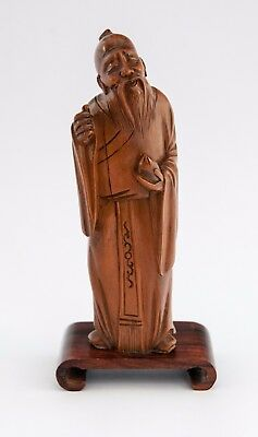 Carved Hard Wood, Chinese Wise Man #3 - Beautifully Carved on wooden stand