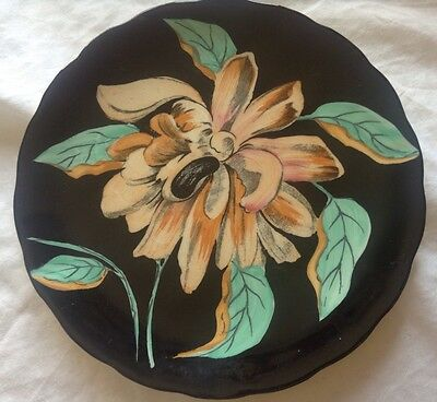 Vintage Pair Of Clarice Cliff Royal Staffordshire Orchid Small Black Plate VGC