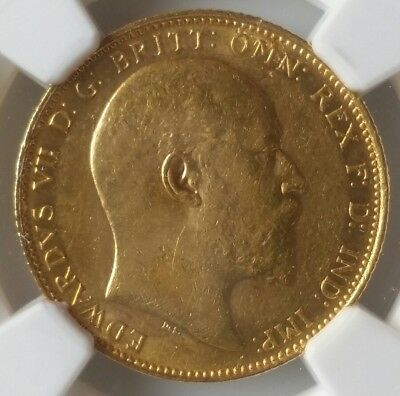 1905 M Australia Gold Sovereign NGC AU58