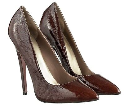Mori Made In Italy Sky Highest Heels Pumps Schuhe Suede Leather Brown Marrone 43