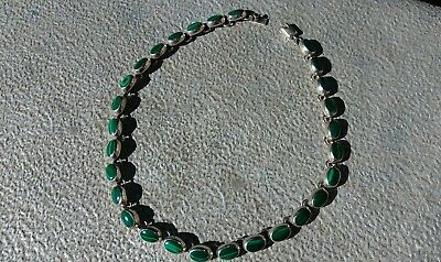 """Mexico 925 Sterling Silver and Green Malachite 16"""" Necklace"""