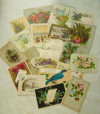 20 Vintage ANTIQUE VICTORIAN CHRISTMAS CARDS inc SINGLE SIDED New Year CRAFT (Q)