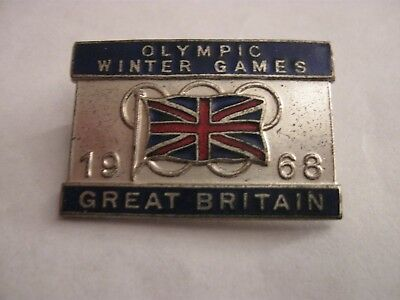 Rare Old 1968 Winter Olympic Games Gb Team Competitor Enamel Brooch Pin Badge