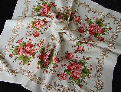 Vintage French Shabby Chic Rose Print Cotton/viscose Tablecloth Unblemished