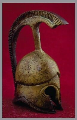 Ancient Helmet Bronze Greek Bronze Miniature  Oxidization 1381