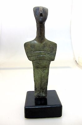 Ancient Greek Bronze Museum Statue Replica Of A Cycladic Idol Figure Collectable