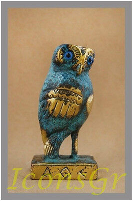 Owl Symbol Of Athena Goddess Of Wisdom Ancient Greek Bronze Museum Replica