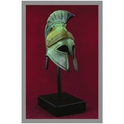 Ancient Greek Bronze Miniature Helmet On Stand Bronze Oxidization 1310-1