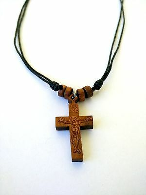 Orthodox Wood Cross Crucifix Pendant Necklace Chain Monastic Greek   / 19