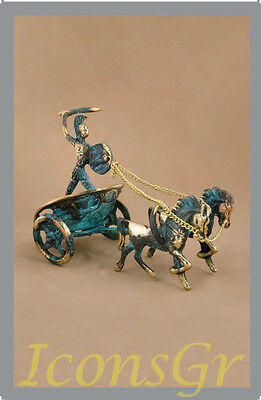 Ancient Greek Bronze Museum Statue Replica of Achilles Chariot Troy Collectable