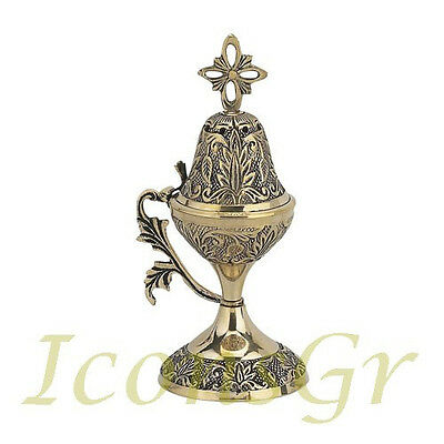 Orthodox Censer Incense Burner With Cross Christian Brass Church Greek  (8640B)