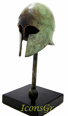 Ancient Greek Bronze Museum Replica Of Corinthian Helmet On A Base 1378-1