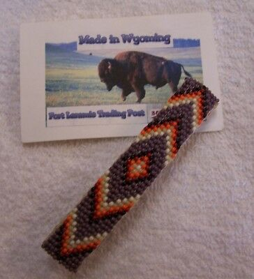 Hand Made Beaded Hair Barrette  Rendezvous Black Powder Mountain Man 1