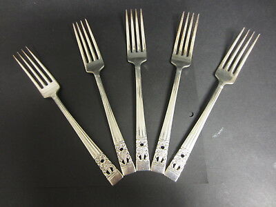 Vintage Set Of 5 Oneida Community Silver Plated Hampton Court Dinner Forks