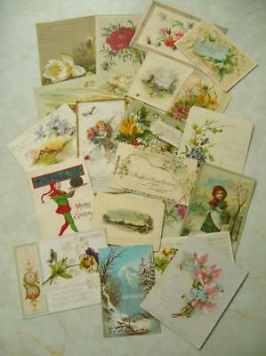 20 Vintage ANTIQUE VICTORIAN CHRISTMAS CARDS inc SINGLE SIDED New Year CRAFT (R)