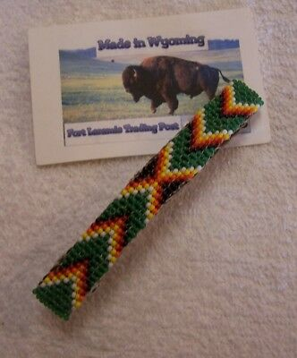 Hand Made Beaded Hair Barrette  Rendezvous Black Powder Mountain Man 3