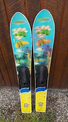 """VINTAGE Set of Wooden 47"""" Long Waterskis Water Skis Signed NASH  REALLY NICE"""