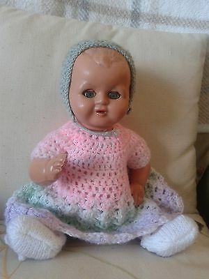 Lovely Vintage Composition/pot Doll In Pink Green And White -  15 Inches
