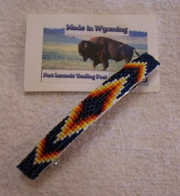 Hand Made Beaded Hair Barrette  Rendezvous Black Powder Mountain Man 5