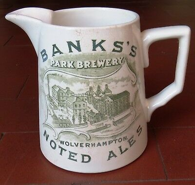 BANKS'S, WOLVERHAMPTON & DUDLEY BREWERY ADVERTISING WHISKEY PUB JUG by E.CO