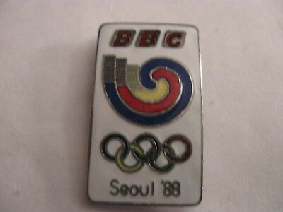 Rare Old 1988 Seoul Olympic Games Bbc Tv Enamel Brooch Pin Badge