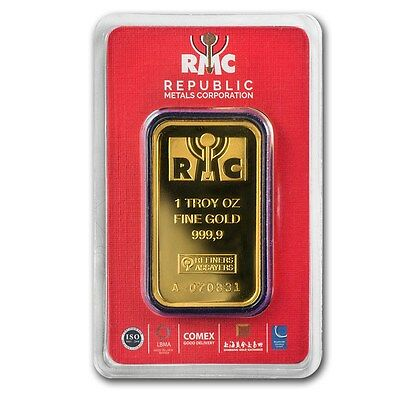 1 oz Gold Bar - Republic Metals Corporation In Assay