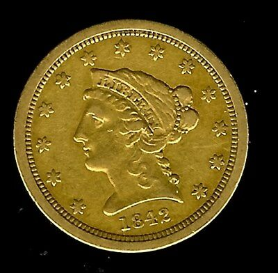 1842-O Liberty Head $2.5 Gold  About Uncirculated Only 19,800 Minted! Rare!