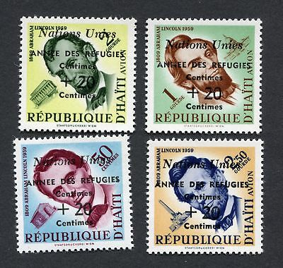 (OC492) Haiti MNH stamps error Lincoln centimes double 1959 refugies