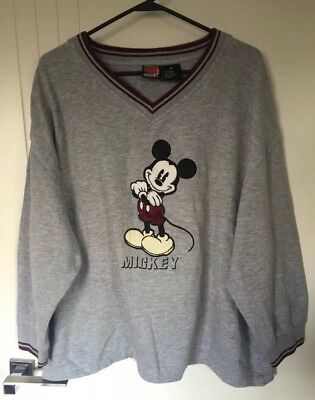 Mickey Unlimited Mickey Mouse Vintage V Neck Jumper Sweater Crew Neck Size XL