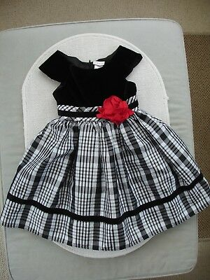 Girls Black, White & Silver Corsage Party Dress Age 4 years - Youngland