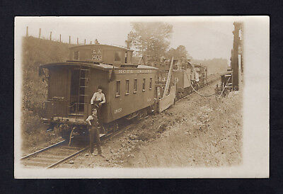 Old Rock Island Railroad Photo Postcard Engine & Caboose Taking on Water EX1409