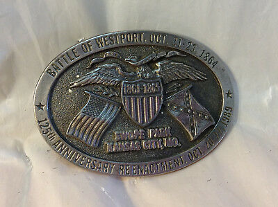 1989 Vintage Civil War 1864 125 Anniv Csa General Shelby Belt Buckle 217 Of 250