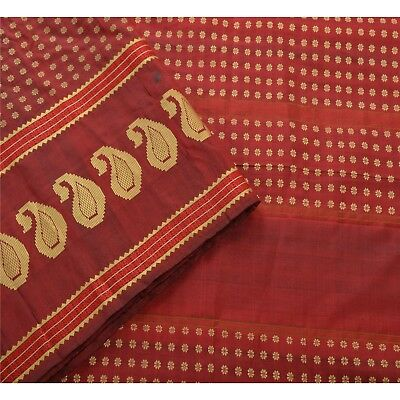 Sanskriti Vintage Indian Saree 100% Pure Silk Woven Craft Fabric Premium Sari