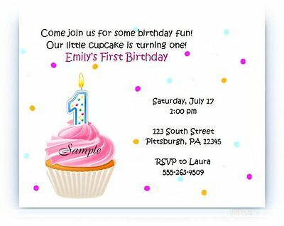 20 Personalized Custom Baby First Birthday Party Invitations Cards Envelopes