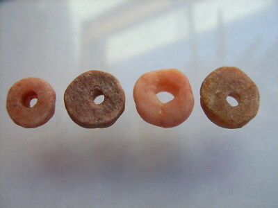 4 Ancient Neolithic Carnelian Beads, Stone Age, VERY RARE!