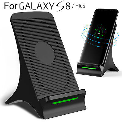 Fast Qi Wireless Charger Stand Dock Pad Mat +Cooling Fan For Samsung S8 S7 Edge