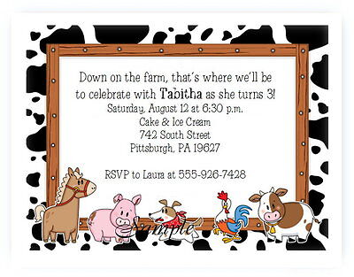 20 Personalized Custom Farm Animals Baby Birthday Invitations