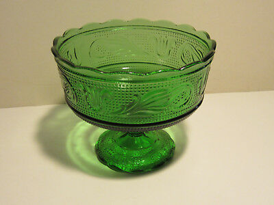 Vintage Emerald Green EO Brody Glass Footed Compote/Candy Bowl/Vase, Nice