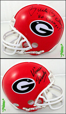 Vince Dooley & Buck Belue Autograph Signed Georgia Mini Helmet Football Coa