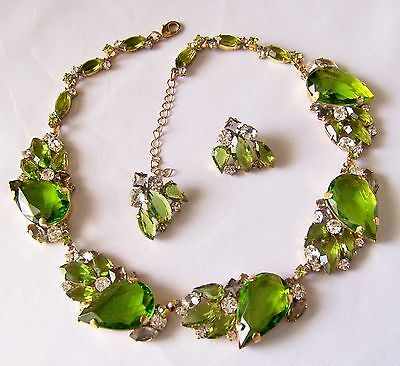 Stunning Green & Crystal Clear Couture Necklace & Earring set by Lilien Czech