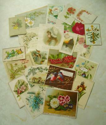 22 Vintage ANTIQUE VICTORIAN CHRISTMAS CARDS inc SINGLE SIDED New Year CRAFT (S)
