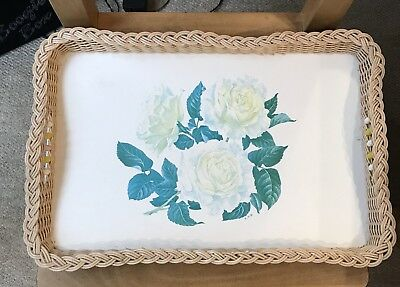 Vintage Retro Wicker Tray 70s Melamine Serving Tray with Beads 1970's LARGE TRAY
