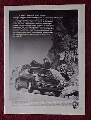 1966 Print Ad PORSCHE 912 Sports Car Automobile ~ Rugged Mountain Country Drive