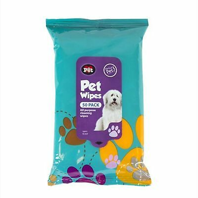 50Pk Pet Hygiene Dog Puppy Cat Cleaning Wet Wipes Ear Paw Body Head Grooming