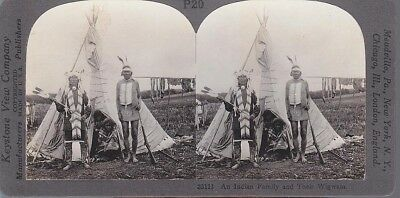 Stereoview Indian Chief In Eagle Feather Head Dress & Family In Front Of Wigwam